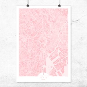 Mapa de Tokio en color rosa quartz