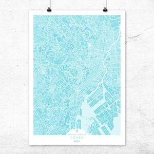 Mapa de Tokio en color turquesa