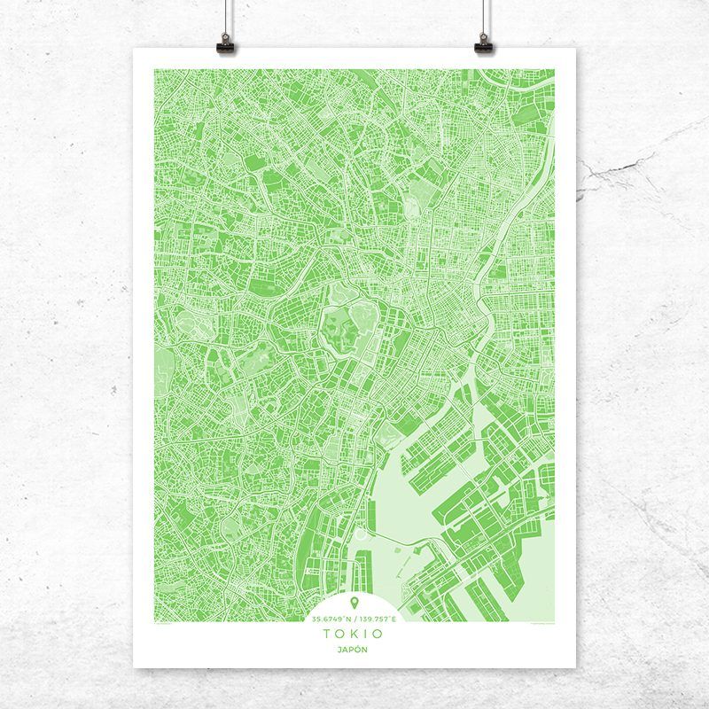 Mapa de Tokio en color greenery