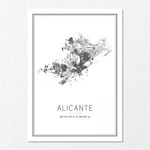 Mapa minimalista de Alicante