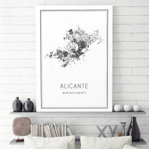 Mapa minimalista de Alicante decorando una sala de estar