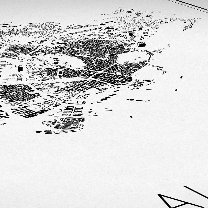 Detalle del mapa minimalista de Alicante
