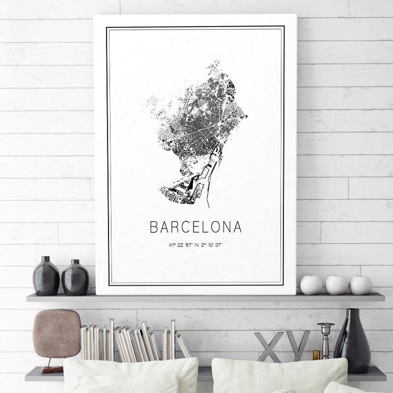 Mapa minimalista de Barcelona decorando una sala de estar