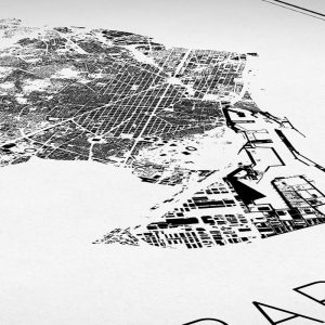 Detalle del mapa minimalista de Barcelona