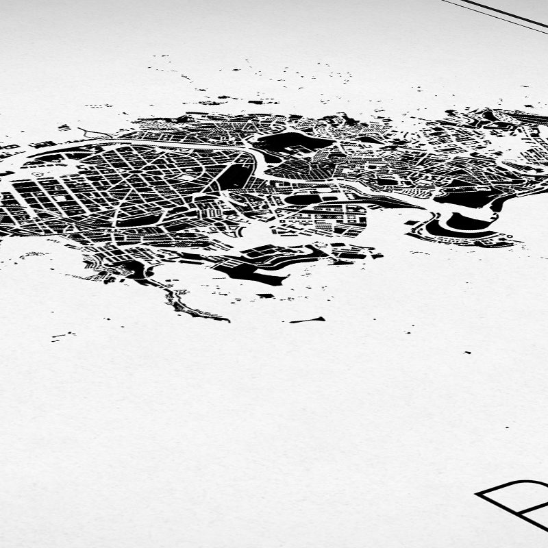 Detalle del mapa minimalista de Bilbao