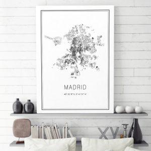 Mapa minimalista de Madrid decorando una sala de estar