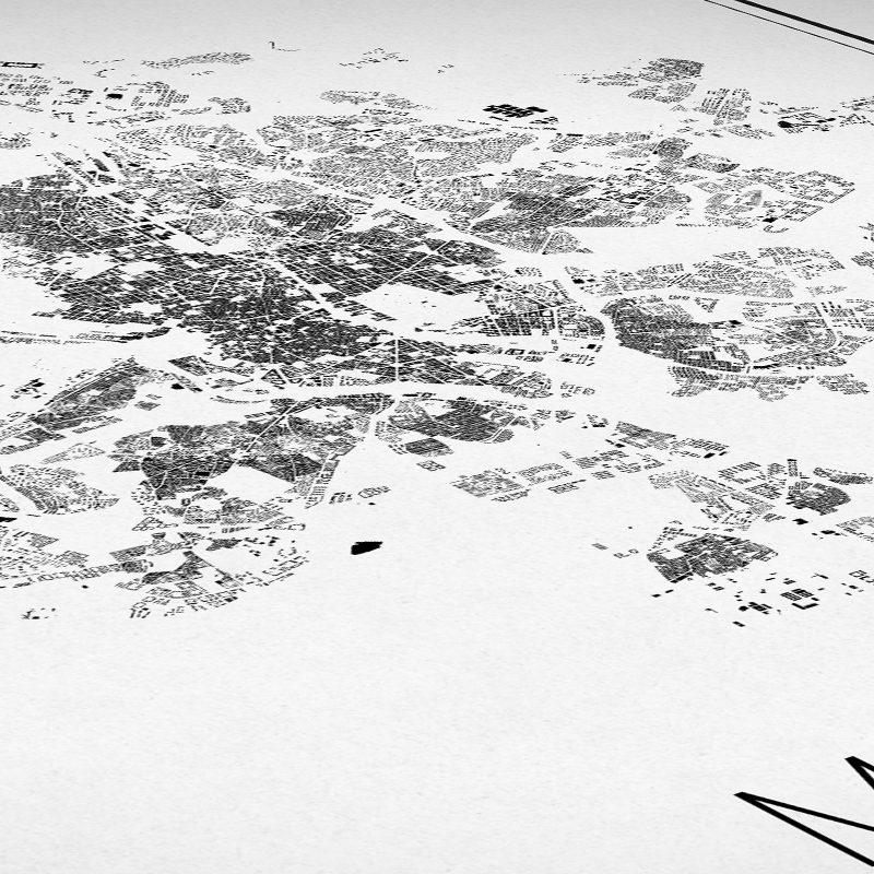 Detalle de un mapa minimalista de Madrid