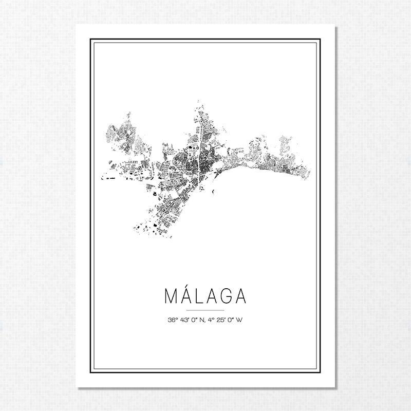 Mapa minimalista de Málaga