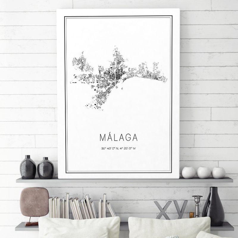 Mapa minimalista de Málaga decorando una sala de estar