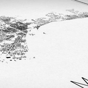 Detalle del mapa minimalista de Málaga