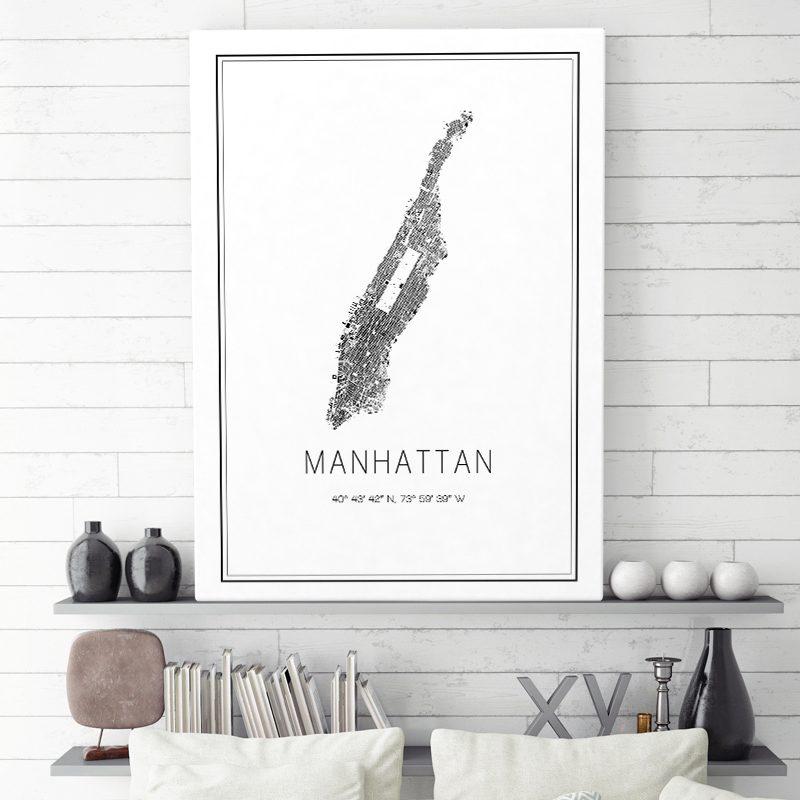 Mapa minimalista de Manhattan decorando un cuarto de estar