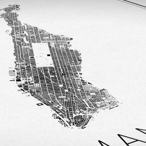 Detalle del mapa minimalista de Manhattan