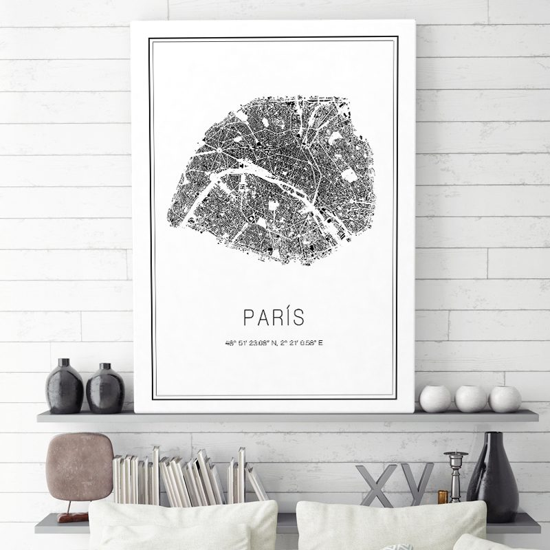 Mapa minimalista de París decorando una sala de estar