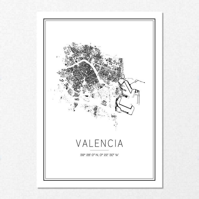 Mapa minimalista de Valencia