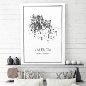 Mapa minimalista de Valencia decorando una sala de estar
