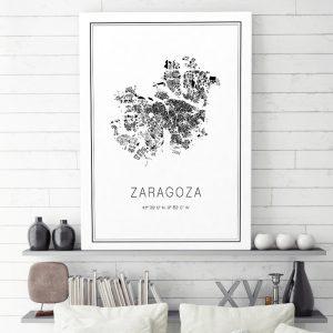 Mapa minimalista de Zaragoza decorando una sala de estar