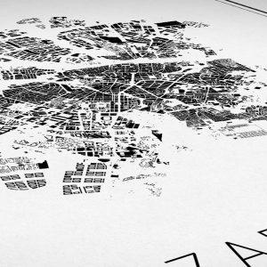 Detalle de un mapa minimalista de Zaragoza