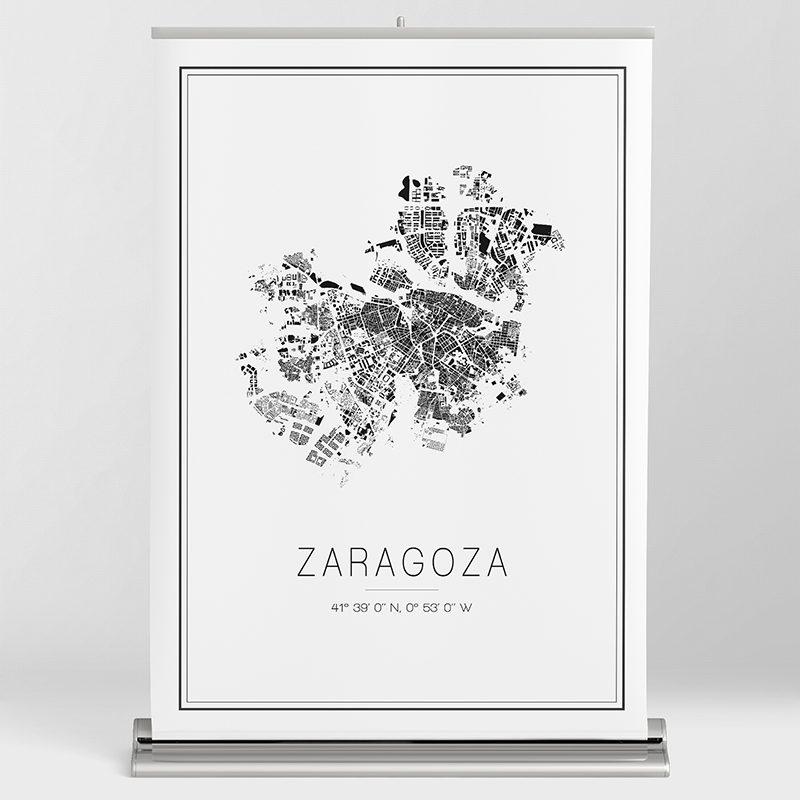Mapa minimalista de Zaragoza