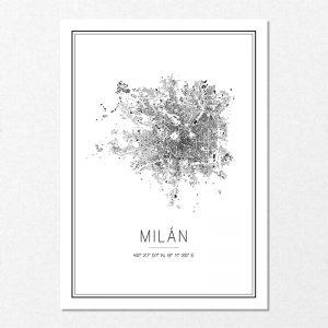 Mapa minimalista de Milán