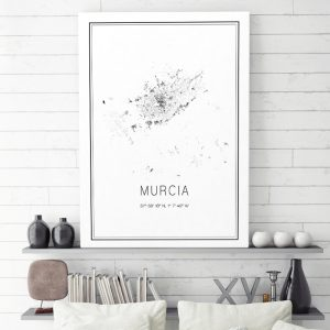 Mapa minimalista de Murcia decorando una sala de estar