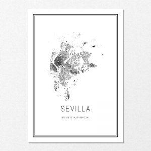 Mapa minimalista de Sevilla