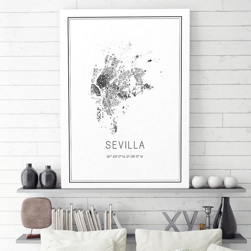 Mapa minimalista de Sevilla decorando una sala de estar