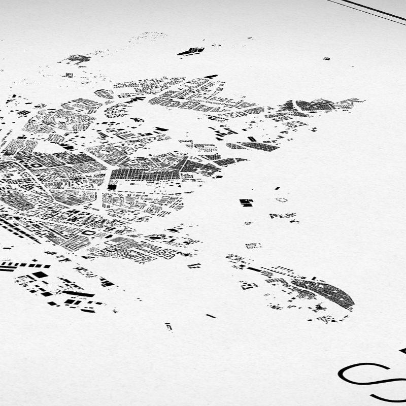 Detalle del mapa minimalista de Sevilla