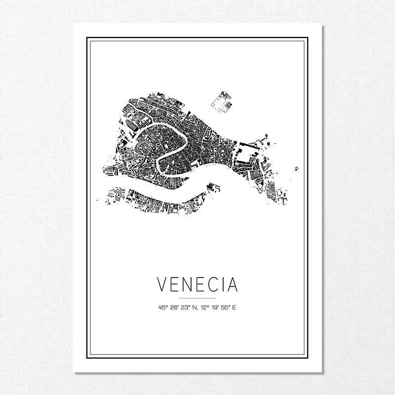 Mapa minimalista de Venecia