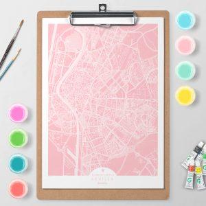 Mapa de Sevilla en Color Block