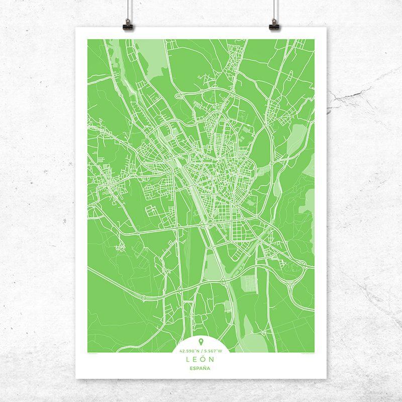 Mapa de León en color greenery