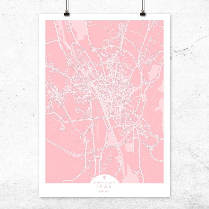 Mapa de León en color rosa quartz