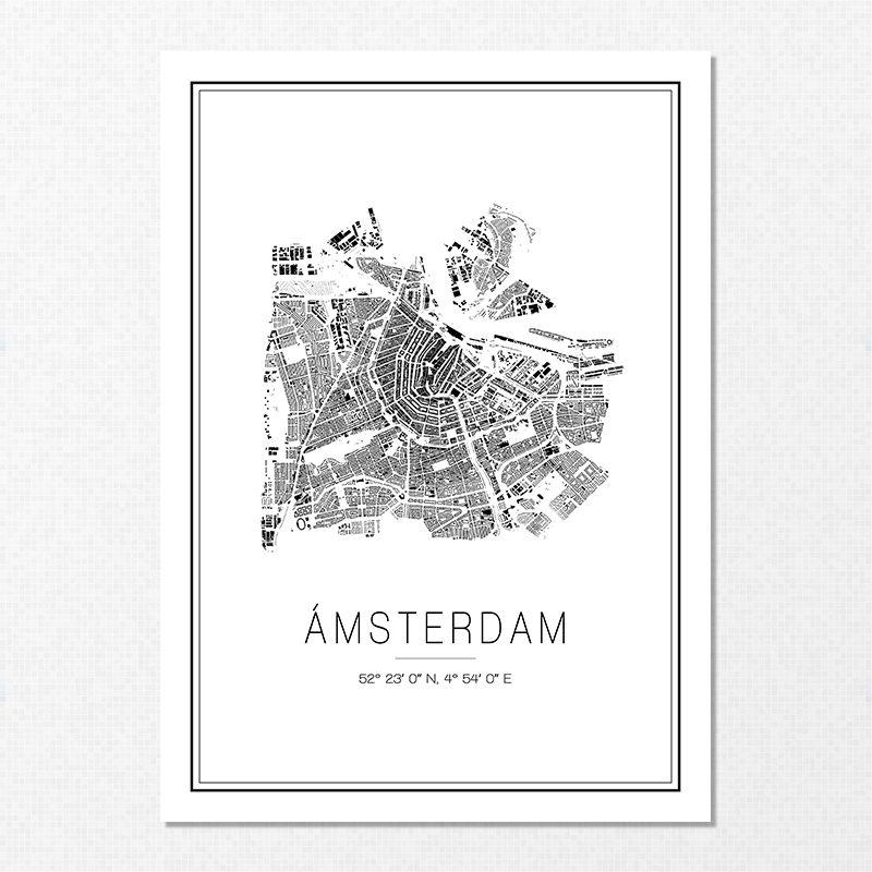Mapa minimalista de Ámsterdam