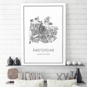 Mapa minimalista de Ámsterdam decorando un cuarto de estar