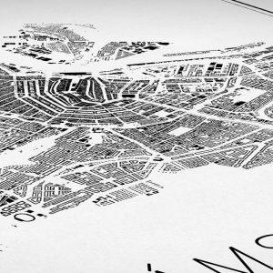 Detalle del mapa minimalista de Ámsterdam
