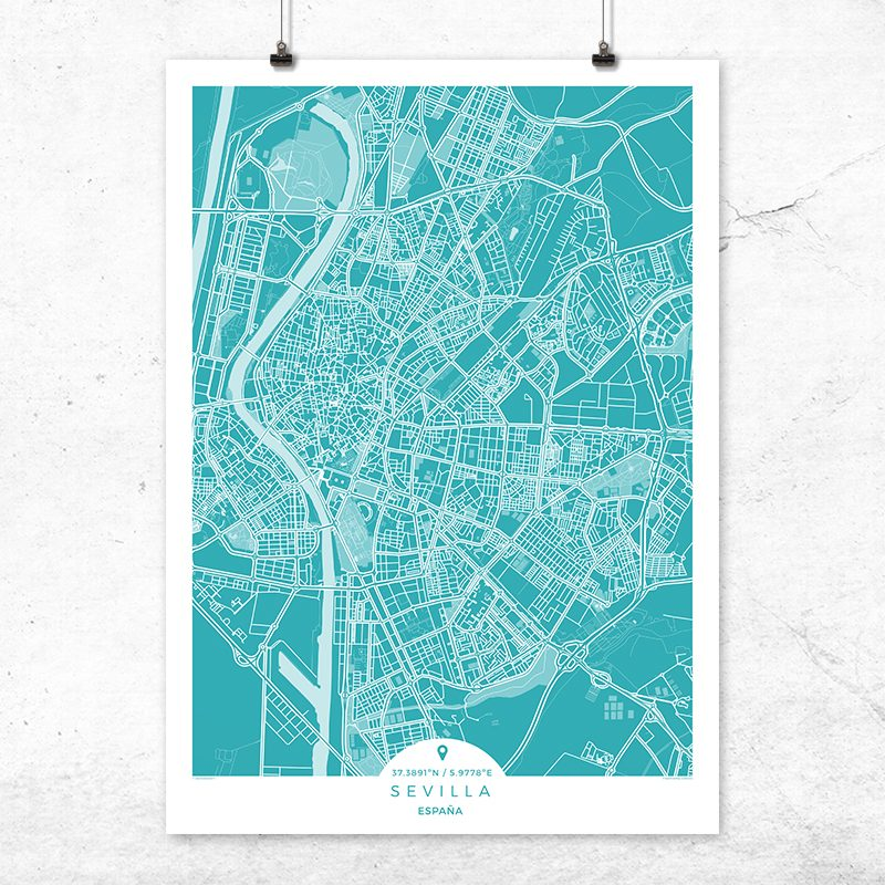 Mapa de Sevilla en color deep blue