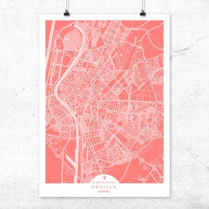 Mapa de Sevilla en color bermellón