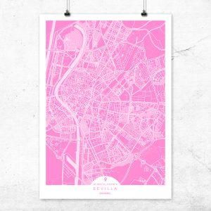 Mapa de Sevilla en color fucsia