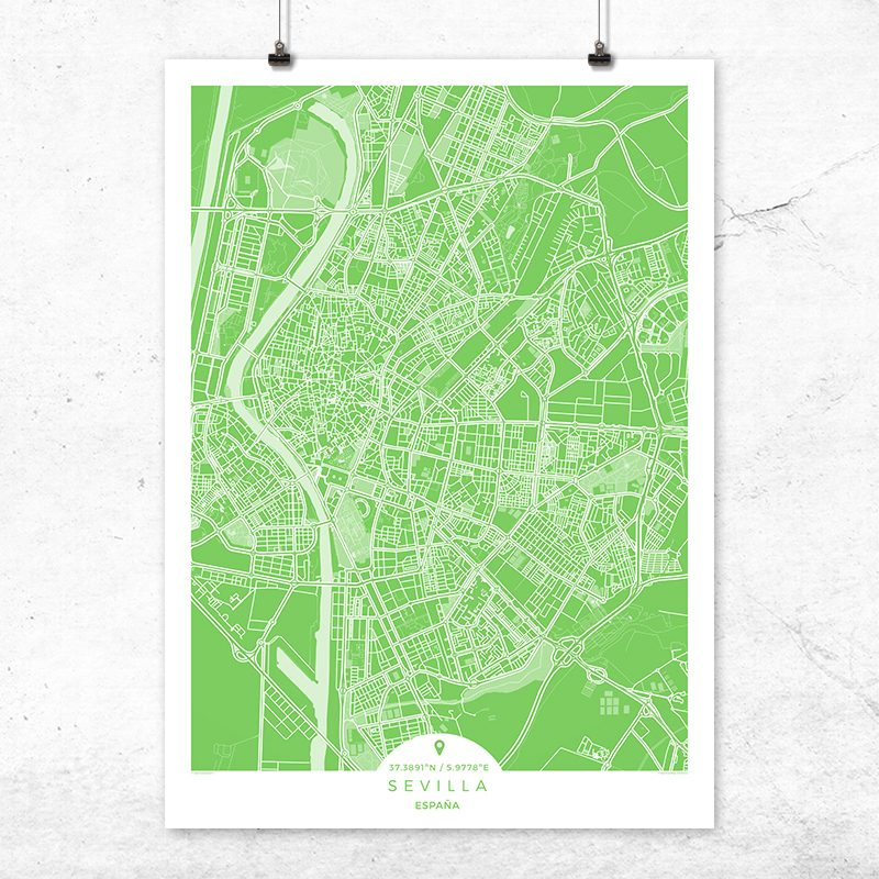 Mapa de Sevilla en color greenery