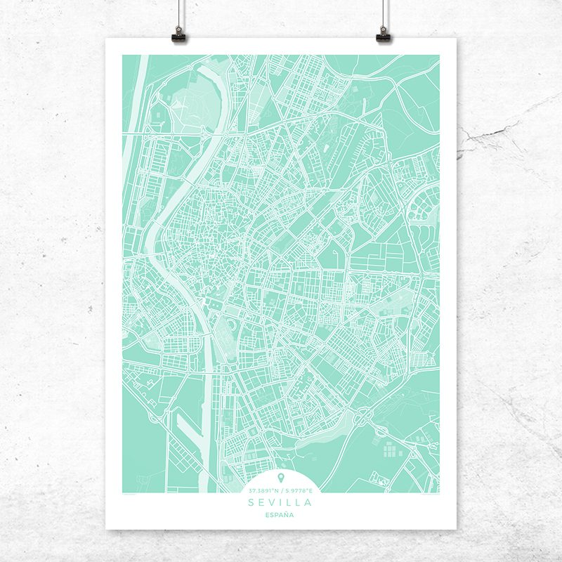 Mapa de Sevilla en color mint
