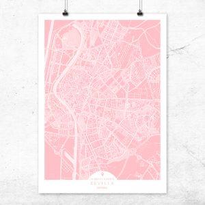 Mapa de Sevilla en color rosa quartz