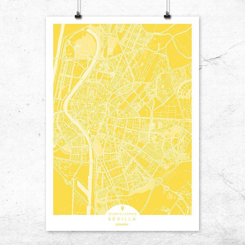 Mapa de Sevilla en color vainilla