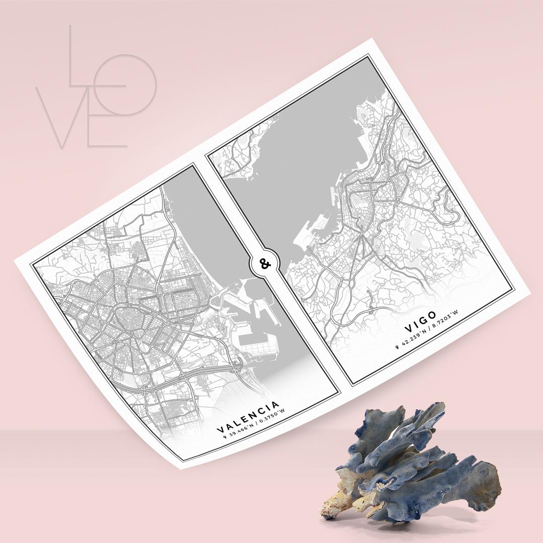 Mapa de dos ciudades unidas por el amor