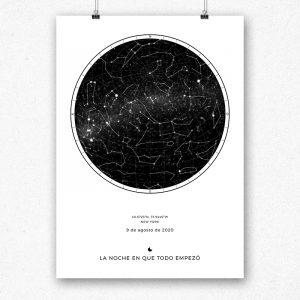Mapa de estrellas en color blanco y negro