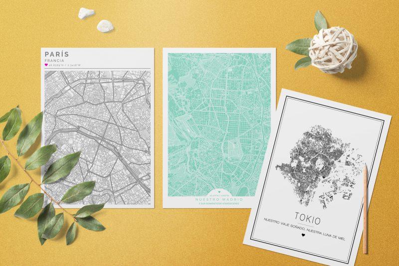 Mapas de ciudades con estilos nórdicos o minimalistas. También en los colores de moda.