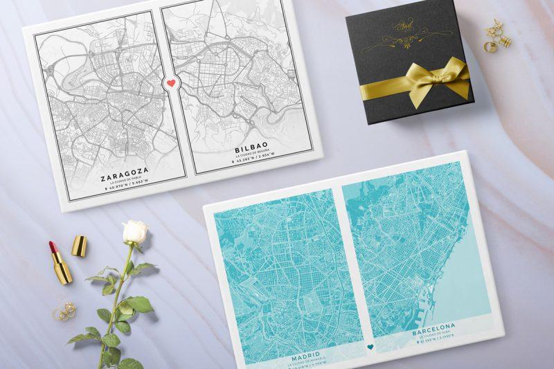 Láminas con los mapas de dos ciudades, que están especialmente diseñadas para unir lugares muy importantes para ellos.