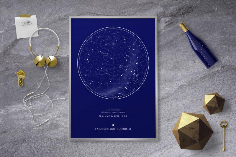 Mapa de estrellas de cualquier lugar del mundo. Puedes elegir el lugar, el día y la hora, ya sea del pasado, presente o futuro.