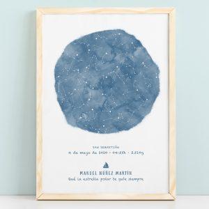Mapa estelar infantil de un día concreto en color azul, regalo ideal para nacimientos, bautizo o decorar la habitación