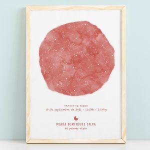 Mapa estelar infantil de un día concreto en color bermellón, regalo ideal para nacimientos, bautizo o decorar la habitación