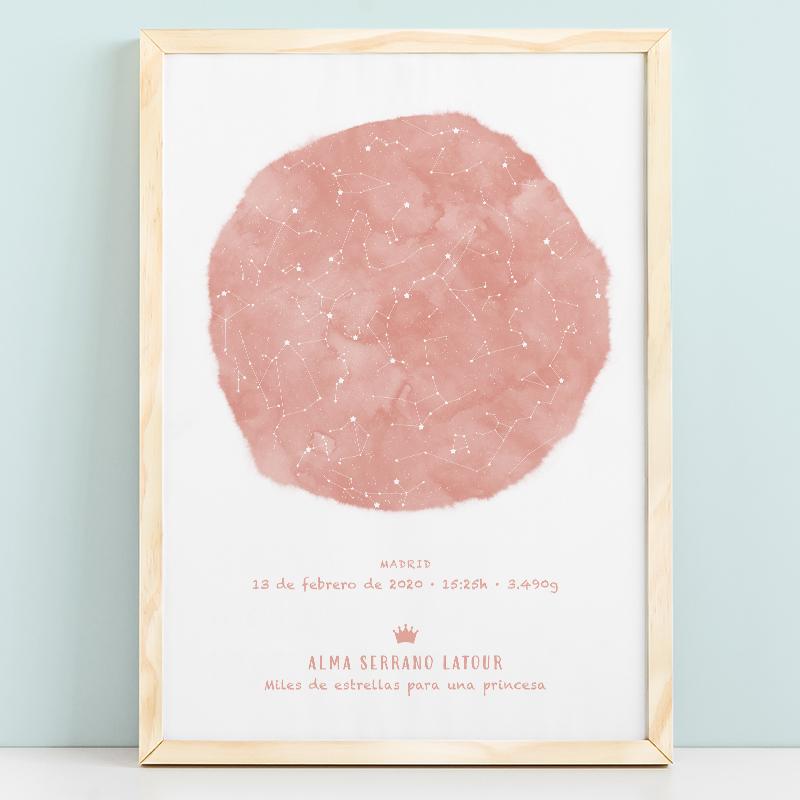 Mapa estelar infantil de un día concreto en color rosa coral, regalo ideal para nacimientos, bautizo o decorar la habitación