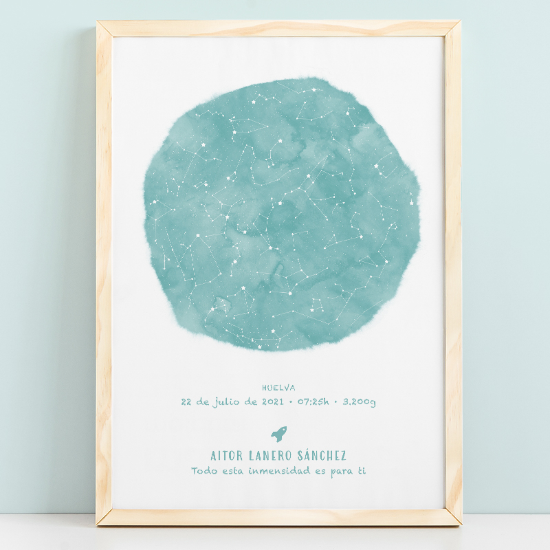 Mapa estelar infantil de un día concreto en color mint, regalo ideal para nacimientos, bautizo o decorar la habitación